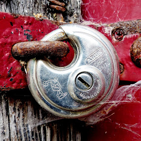 Locked Up For Good  by Ian Popple - Uncategorized All Uncategorized ( red, old door, lock, rusty, padlock,  )