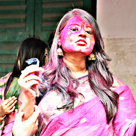 Smoking is injurious to health by Jhilam Deb - People Portraits of Women ( jhilam deb, rabindra bharati, smoking, woman, kolkata, tobacco, holi, bengali, culture,  )