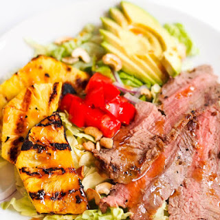 Asian Flank Steak Salad with Grilled Pineapple and Sesame-Miso Dressing Recipe