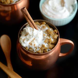 Healthy Vanilla Almond Milk Latte Rice Pudding.