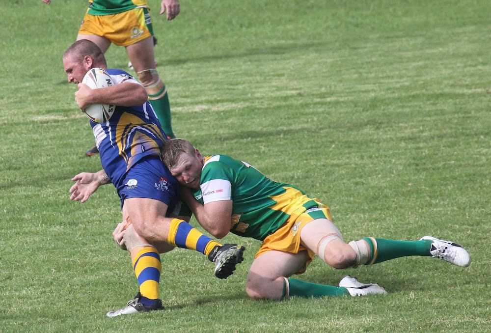 Boggabri lock Mitch Campbell tackles Bingara's Steve Garret in the sides' Group Four second division round two clash on Saturday.