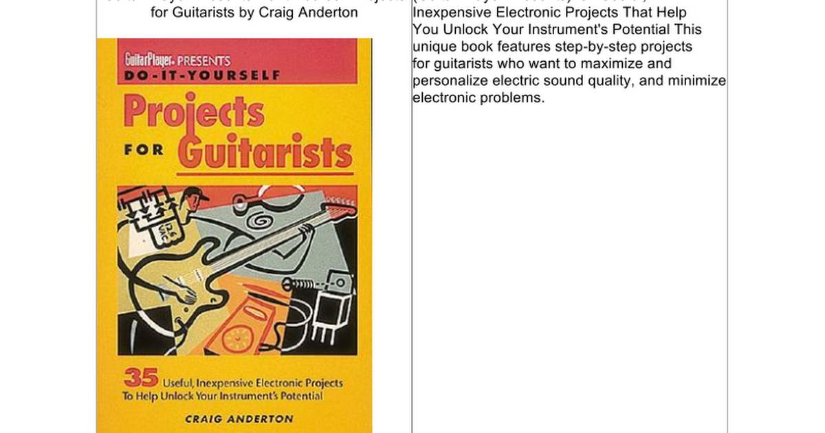 Guitar player presents do it yourself projects for guitarists guitar player presents do it yourself projects for guitarists google docs solutioingenieria Images