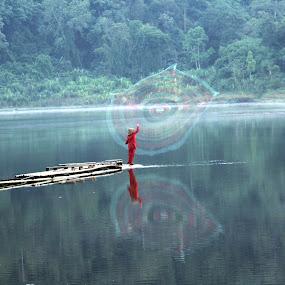 Casting Nets by Dedi Sukardi - Landscapes Waterscapes ( nature, sukabumi, lake, men, situ gunung, morning, landscape )