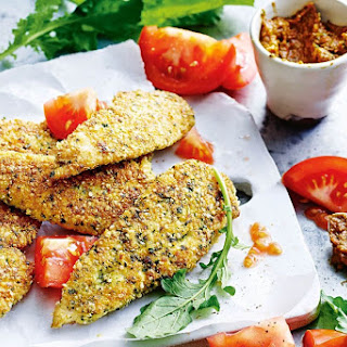 Chicken Quinoa Schnitzels With Sun-dried Tomato Pesto