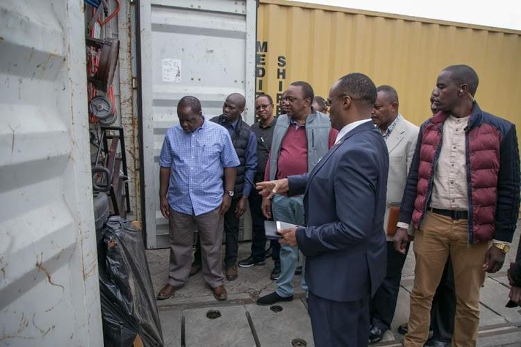 President Uhuru made impromptu visit to Embakasi Inland Depot accompanied by Interior CS Fred Matiang'i, May 27, 2019.