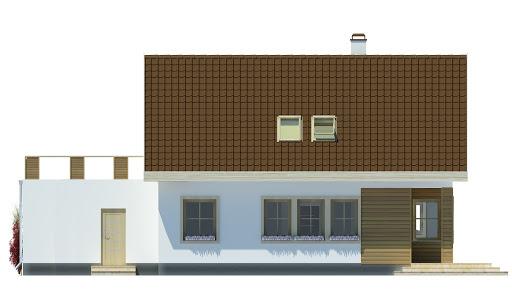 Agatka z tarasem nad garażem 2 stanowiskowym - Elewacja tylna