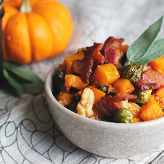 Roasted Brussels Sprouts and Butternut Squash tossed in a Warm Bacon and Brown Ale Vinaigrette with Sage and Toasted Pecans.