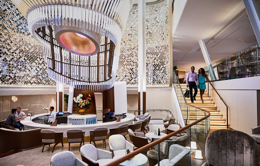 The Grand Plaza, at the center of Celebrity Edge and Apex, is home to the ships' specialty restaurants and popular Martini Bar.