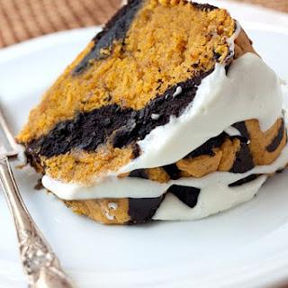 Chocolate-Pumpkin Marble Cake with Cream Cheese Glaze.