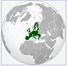 Globus-Projektion der EU.