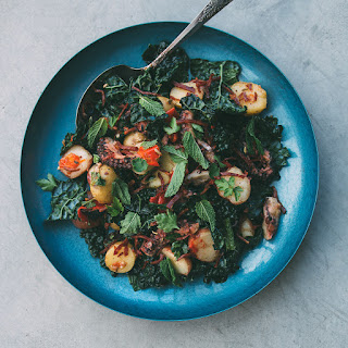 Warm Potato, Kale And Octopus Salad With Chorizo Vinaigrette