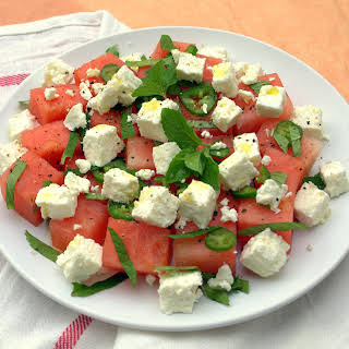 WATERMELON AND FETA SALAD WITH JALAPENOS AND MINT.