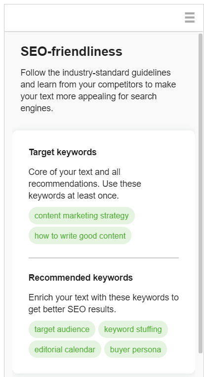 target keyword recommendations SEO writing assistant