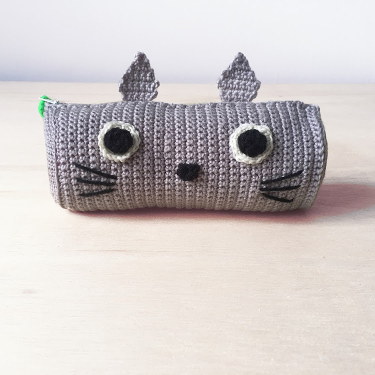 Crochet Totoro Pencil case by Ricincraft