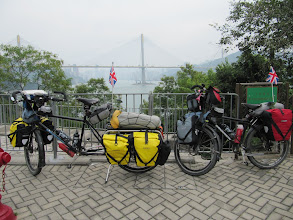 Photo: Day 202 - Sally and Xtra Big Boy with a View of a Bridge in Hong Kong
