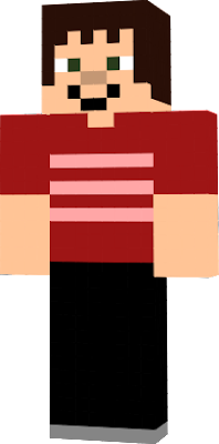The player Purple19663 wearing a red shirt with pinkish red stripes.As well as some black pants.