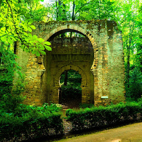 Puerta de Bibrambla by Luke Albright - Buildings & Architecture Public & Historical ( old, gate, forrest, trees, stone )