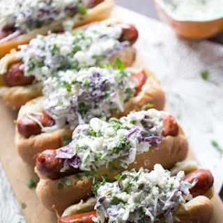Andouille Sausage with Blue Cheese Coleslaw
