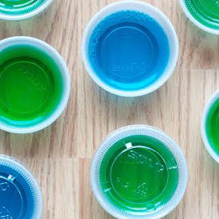 Blue and Green Jello Shots.