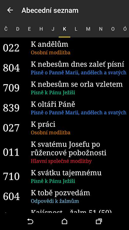 Kancionál- screenshot