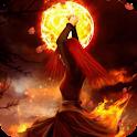 Girl at full moon Live WP icon