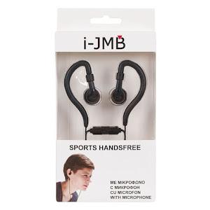 Casti sport Handsfree cu microfon, i-JMB, Negre