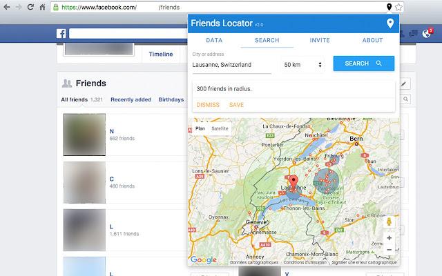 Friends Locator chrome extension