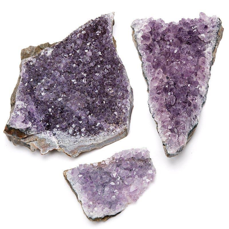 Ametist, kluster naturliga kristaller
