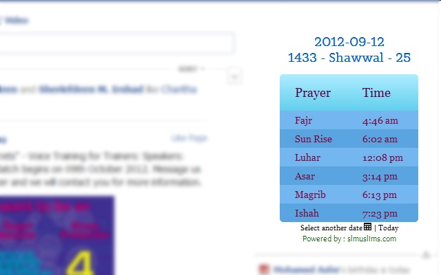 Islamic Prayer Times for Facebook