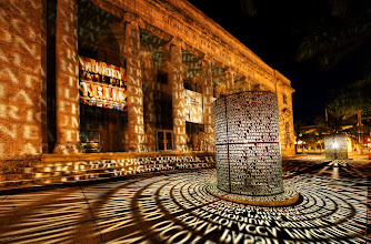 Photo: Caloosahatchee Manuscripts  A pair of bronze cylinders engraved with thousands of letters light up in Downtown Fort Myers.  Please visit the blog at http://williambeem.com.