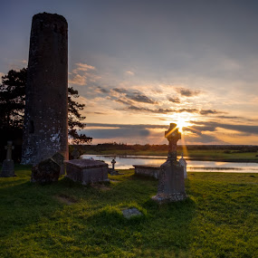 O'Rourke's Tower, Clonmacnoise, Ireland by F Kelly - Buildings & Architecture Public & Historical ( river shannon, monastery, 12th century, offaly, ancient ireland, ireland, clonmacnoise, tower )
