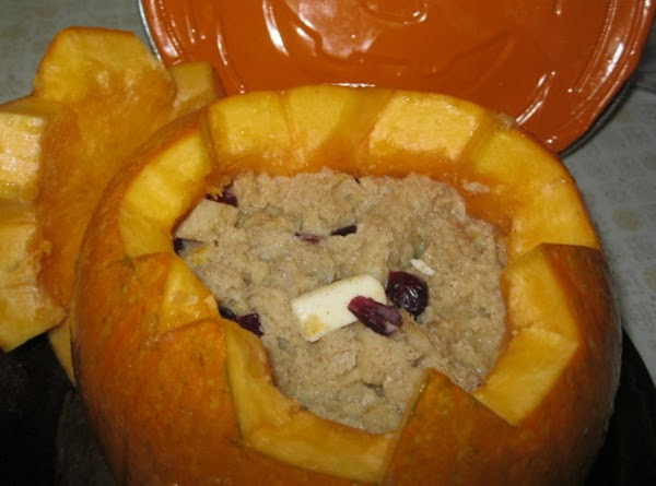 While you are mixing the ingredients for the pudding/filling for the pumpkin,preheat the oven...