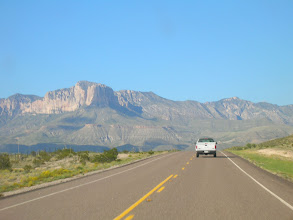 Photo: Our first view of the Guadalupes, with the nose of El Capitan just in front of Guadalupe Peak -- the highest point in Texas.