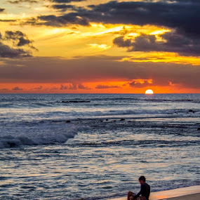 October Skies by Rachelle Crockett - Landscapes Beaches ( child, sand, colorful, surfer, sunset, ocean, beach, vibrant, hawaii )