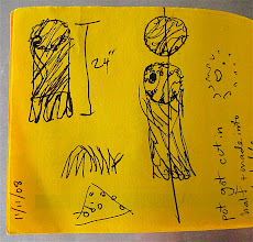 """Photo: 23"""" of wet clay shrunk to just over 18"""" fired, I think this doodle is funny because it's about an altered plan"""