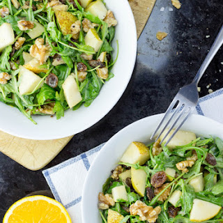 Pear Walnut Salad with a Mustard Orange Dressing (Vegan)