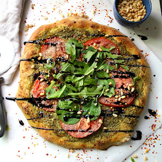 Vegan Pesto Pizza with Balsamic Glaze.