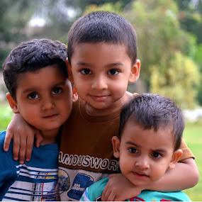 Three Friends by Umair Nayab - Babies & Children Children Candids ( friends, park, children candids, smile, group,  )