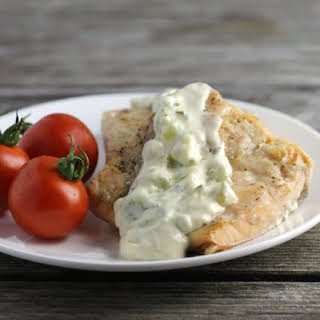 Dill Sauce Topped Broiled Salmon.