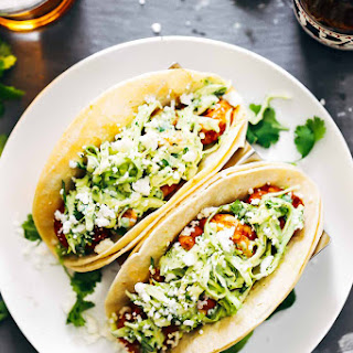 Spicy Shrimp Tacos with Garlic Cilantro Lime Slaw.