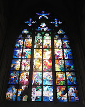 Photo: The gorgeous stained-glass window painted by Alfons Mucha.