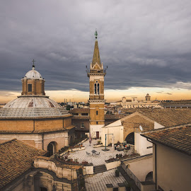 Dell'Anima by David Marjanovic - City,  Street & Park  Historic Districts ( play, roma, roofs, light, church, dramatic, weather, clouds, sun, italy )