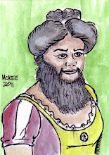 Photo: Bearded Lady (Baroness Sidonia de Barcsy). 2 ½ in x 3 ½ in or 6 cm x 9 cm. Watercolor and ink on 110 lb. acid-free paper. Signed on the front; title and signature on the back. Sealed with a matte finish. Comes in a clear rigid plastic top-loader. ©Marisol McKee