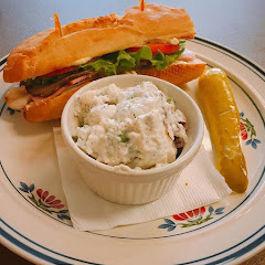 The famous New Day sub with homemade potato salad (best potato salad I've had, even before I had to go gf)