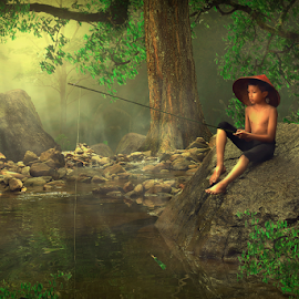 Village Boy by Muhd Iqbal - Digital Art People ( fishing, artistic, illustration, digital art, borneo )
