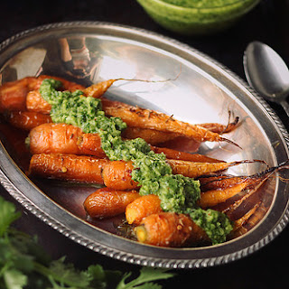 Cumin Roasted Carrots with Cilantro Chimichurri {Gluten-free and Vegan}