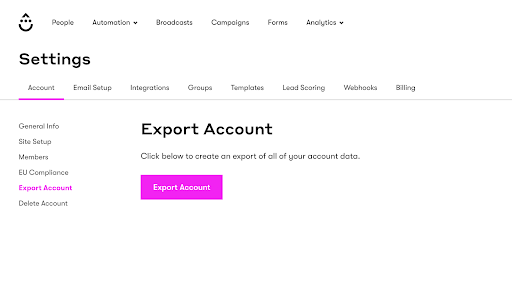 Export Data from Drip