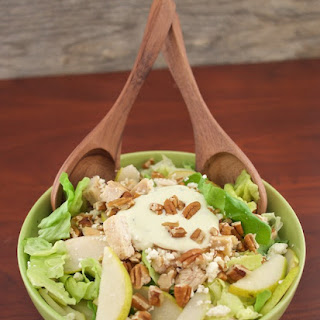 Chicken, Pecan & Pear Salad with Yogurt Thyme Dressing