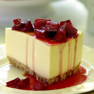Lemon Cheesecake with Rhubarb Topping