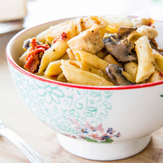 Penne Pasta with Mushrooms, Chicken, and Sun-dried Tomatoes.